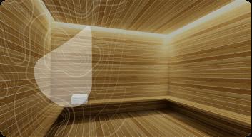 Interior de sauna revestido com madeira clara