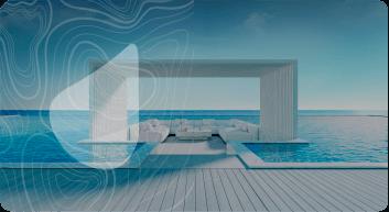 Área reservada com poltronas dentro de uma piscina
