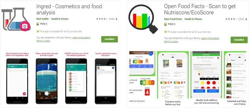Imagens de aplicações para a leitura de rótulos de embalagens de produtos